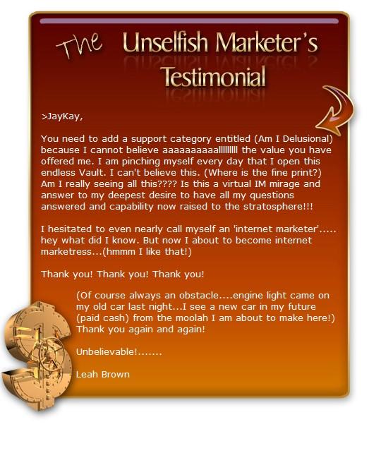unselfish marketer testimonials 1